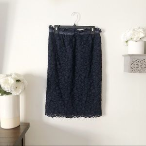 Current Air lace pencil skirt elastic waist navy M